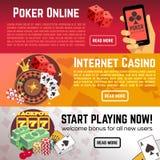 Insegne online di vettore del casinò di Internet di lotteria di gioco della mazza messe Fotografia Stock Libera da Diritti