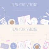 Insegne orizzontali con il piano il vostri segno di nozze, cancelleria di nozze ed oggetti di ogni giorno Fotografie Stock