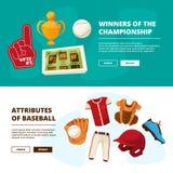 Insegne orizzontali con le immagini dei simboli di baseball Immagine Stock Libera da Diritti