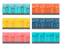 Insegne orizzontali con paesaggio urbano Illustrazione Vettoriale