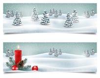 Insegne orizzontali di Natale di festa con il paesaggio di inverno Fotografia Stock