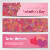Insegne orizzontali di vettore di giorno di biglietti di S. Valentino sul blu Fotografia Stock