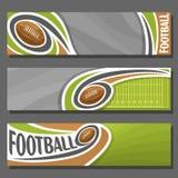 Insegne orizzontali di vettore per football americano Immagine Stock Libera da Diritti