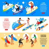 Insegne orizzontali isometriche praticanti il surfing illustrazione vettoriale