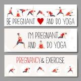 Insegne per la pubblicità dell'yoga incinta Fotografie Stock