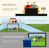 Insegne piane dei fan di calcio 2 messe Fotografie Stock Libere da Diritti