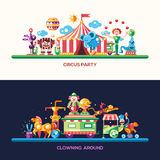 Insegne piane del circo e di carnevale di progettazione, intestazioni messe illustrazione vettoriale