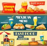 Insegne piane del menu del fast food di vettore Fotografia Stock Libera da Diritti