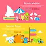 Insegne piane del sito Web di vacanza di viaggio di estate messe Fotografie Stock Libere da Diritti