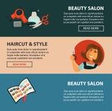 Insegne piane di web di stile del haricut di vettore del salone di bellezza del parrucchiere per la designazione di coloritura di illustrazione vettoriale