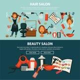 Insegne piane di web di vettore del salone di bellezza del parrucchiere di coloritura di capelli della donna che disegna attrezza illustrazione di stock