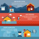 Insegne piane interattive di sicurezza domestica messe Immagini Stock Libere da Diritti