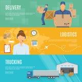 Insegne piane orizzontali di logistica messe illustrazione di stock