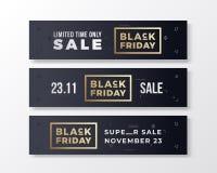 Insegne premio alla moda di Black Friday messe Concetto moderno di tipografia Dorato e bianco con gli elementi decorativi astratt Illustrazione di Stock
