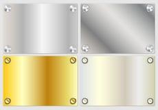 Insegne realistiche moderne dell'argento e dell'oro Immagini Stock