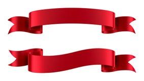 Insegne rosse del nastro del raso isolate Fotografia Stock Libera da Diritti