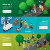 Insegne sociali di orizzontale di aiuto illustrazione di stock