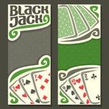 Insegne verticali Black Jack di vettore per testo Fotografia Stock