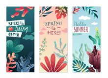 Insegne verticali decorative di estate della primavera Colori piacevoli e pendenze delicate illustrazione vettoriale