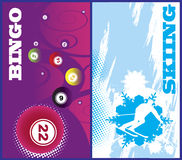 Insegne verticali di bingo e dello sci Fotografia Stock