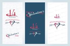 Insegne verticali di giorno di biglietti di S. Valentino 3 Fotografia Stock Libera da Diritti