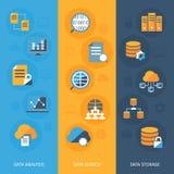 Insegne verticali di grandi dati messe Immagini Stock