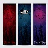 Insegne verticali di Halloween messe con testo Fotografia Stock Libera da Diritti