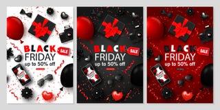 Insegne verticali di vendita di Black Friday messe Cravatta a farfalla, smartphone, macchina fotografica, contenitore di regalo,  Illustrazione Vettoriale