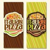 Insegne verticali di vettore per pizza italiana Fotografia Stock