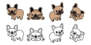 Insegua il marrone di simbolo dell'illustrazione del personaggio dei cartoni animati dell'icona di logo del bulldog francese di v illustrazione di stock