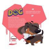 Insegua il pennello della tenuta con cuore nel fondo llove del cane c illustrazione vettoriale