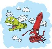 Inseguimento del pesce volante Immagine Stock Libera da Diritti