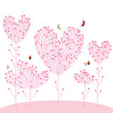 Inseguimento delle farfalle di paia dell'albero di amore Immagini Stock