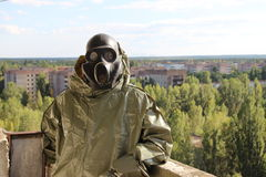 Inseguitore in città fantasma Pripyat Immagine Stock Libera da Diritti
