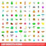 100 insektów ikon ustawiających, kreskówka styl Fotografia Royalty Free
