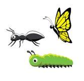 Insekt Ant Caterpillar Butterfly Vector Illustration Lizenzfreies Stockbild