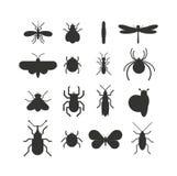 Insekt ikony czerni sylwetki mieszkanie ustawia odosobnionego na białym tle ilustracji