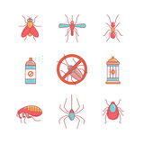 Insekt kontrola, anty zaraza emblemat, flit ilustracja wektor