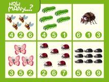 Insekt matematyki liczby worksheet ilustracji