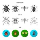 Insekt, pluskwa, ściga, łapa Insekt ustawiać inkasowe ikony w mieszkaniu, kontur, monochromu symbolu zapasu stylowa wektorowa ilu ilustracja wektor