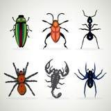Insekt zwierzęce niebezpieczne ikony royalty ilustracja