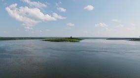 Insel auf dem Fluss stock video footage