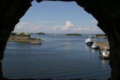 Insel auf weißem Meer stockfoto