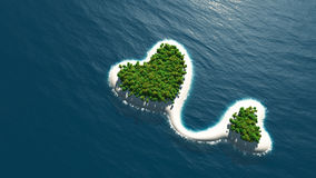 Insel in der Form des Paarherzens Stockfotografie