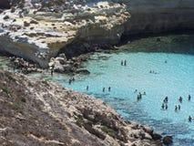 Insel der Kaninchen Lampedusa, Sizilien stockbilder