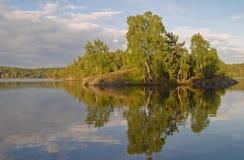 Insel in einem schwedischen See Stockfotos