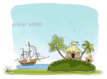 Insel für glückliche Sammlung der perfekten Flitterwochen Welt vektor abbildung