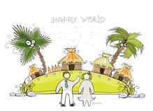Insel für glückliche Sammlung der perfekten Flitterwochen Welt stock abbildung