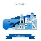 Insel-Griechenlands Santorini-Ägäischen Meers Vektor-Anziehungskraftanblick flacher Lizenzfreies Stockbild