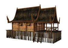Insel-Haus der Wiedergabe-3D auf Weiß stockfotos